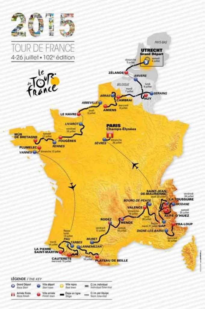 Carte du Tour de France 2015